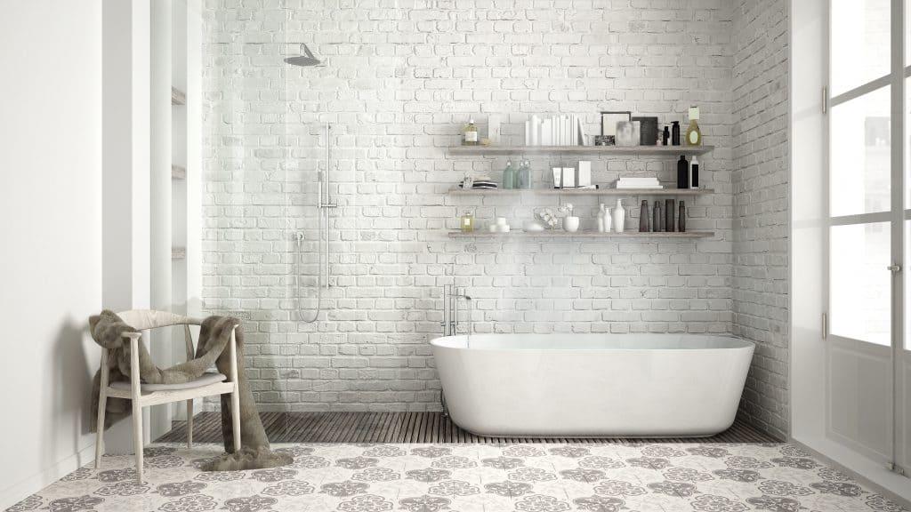 Scandinavian bathroom with minimalist design.