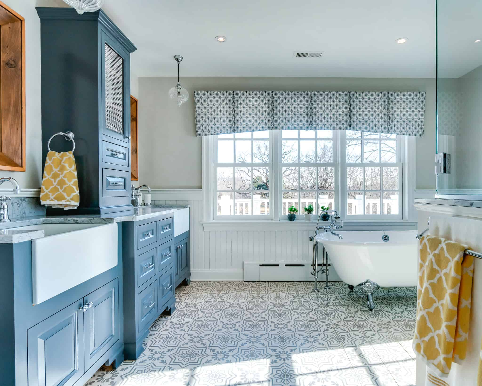 blue and white bathroom remodel in new hope pa