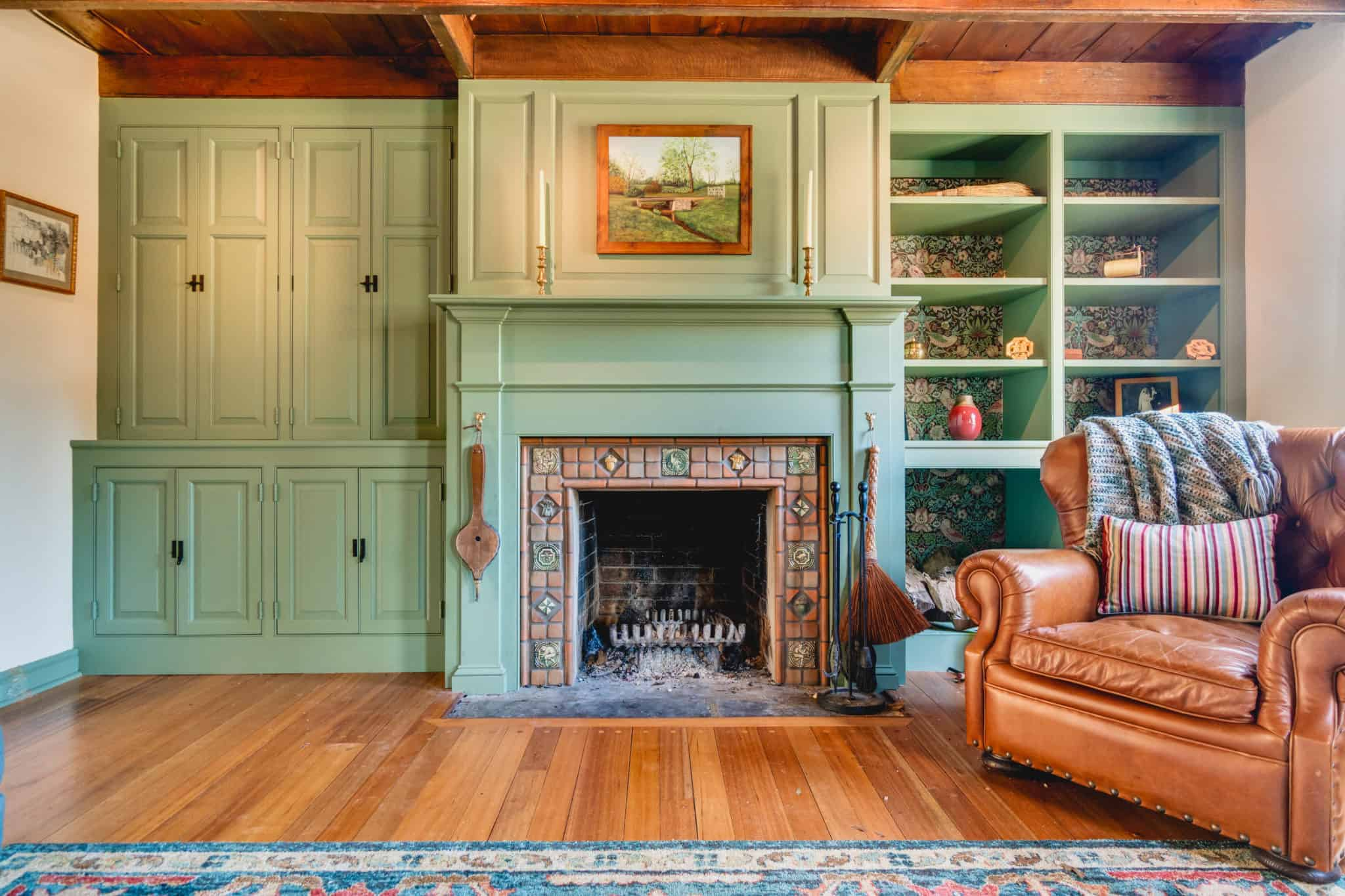 teal fireplace in living room remodel in New Hope PA