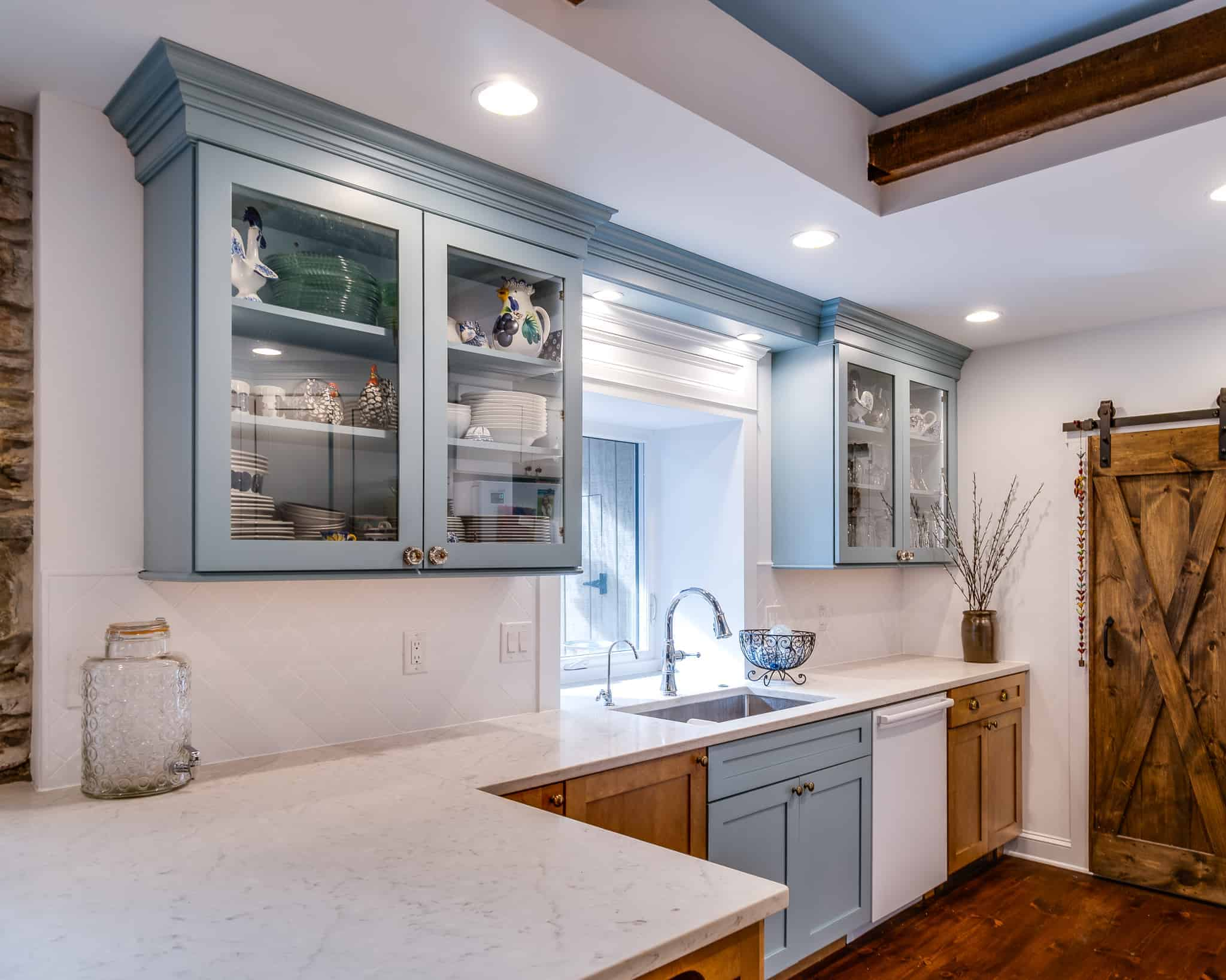 blue and white kitchen remodel in langhorne pa