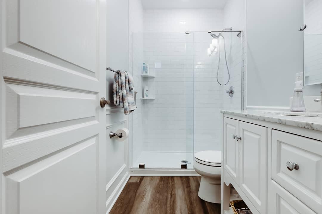 Installed bathroom in basement